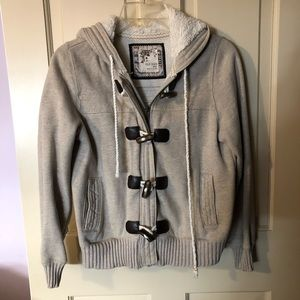 Old Navy Gray Fleece-Lined Coat w/ Hood